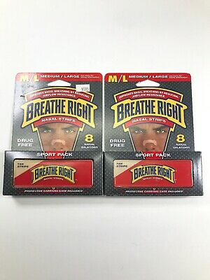 Breathe Right Nasal Strips Lot Of 2 Boxes Medium /Large Sport Pack W/ Case 16 ct