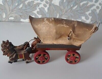 """Vintage Wooden Toy Horse Drawn Covered Wagon 7"""" long 3"""" Tall, Japan"""