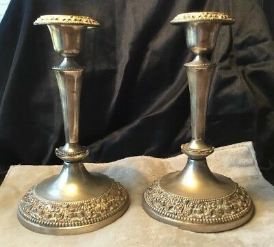 Vintage 20s Deco Hallmarked Ornate Large Silver Plate Candle Stick pair