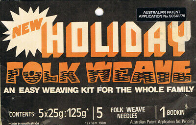 Folk Weave – Easy Weaving Kit 5x25g Acrylic Yarn, 14 Needles, 2 Bodkins