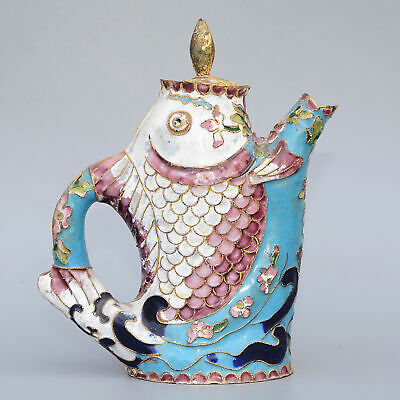 Collectable China Old Cloisonne Hand-Carved Fish & Bloomy Flower Unique Tea Pot