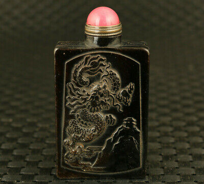 rare chinese yak horn Handcarved dragon buddha statue snuff bottle decoration