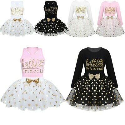 Kids Baby Girls Birthday Shiny Tutu Dress Party Formal Dresses Princess Outfit