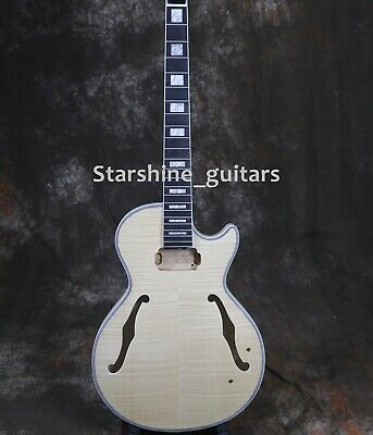 DIY Unfinished Kit With Parts F Hole LP Electric Guitar Mahogany Body Maple Top