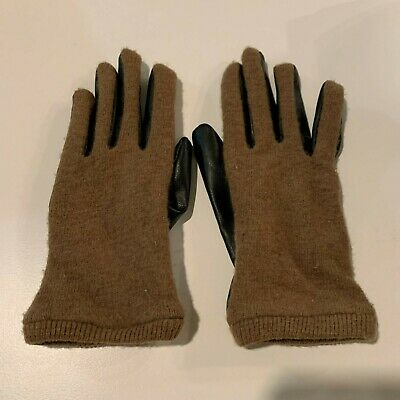 Zara Women's Leather Gloves Brown Small Black Winter Womens Glove Knit