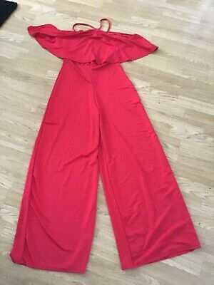 Boohoo From Next Size 14 Red Ruffle Frill Jumpsuit 34 Inch Inside Leg Bnwt