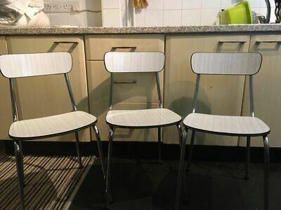 SET OF 3 x Melamine Formica 1950s 60s Chrome Chairs