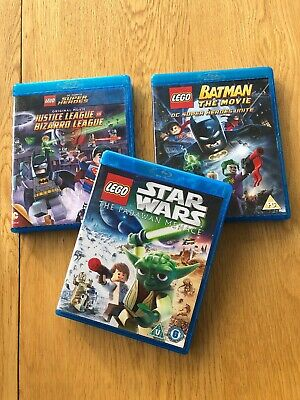 Lego Blu Ray Films x 3 Justice League, Batman And Star Wars.