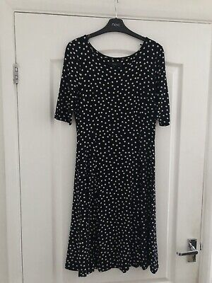 Ladies Black/White Polka Dot T- Shirt Style Dress By Next (Size 8)
