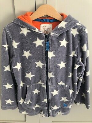 Children's Boys Or Girls Mini Boden Towelling Hoodie Age 5-6 Grey, White Stars