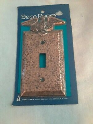 Vintage Hammered Brass Eagle Light Switch Plate Cover Single NOS NIP