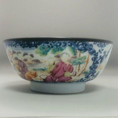 18th Century Chinese Qing porcelain famille rose bowl, copper rim, figures, fine