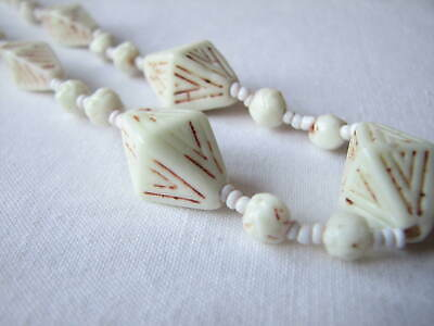 Vintage Czech Deco Neiger White Glass Beads Necklace