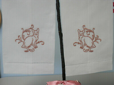 Embroidered Guest Towels Valentines Day Design In Linen Set Of Two 12 00 Picclick