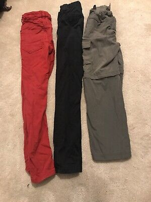 3 Pairs Of Next Boys Trousers Age 10 Skinny Fit Trousers/shorts
