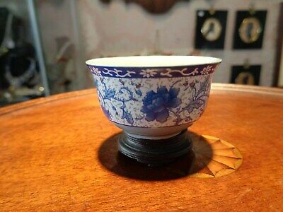 antique small Chinese blue and with bowl green  seal mark duck egg blue pottery