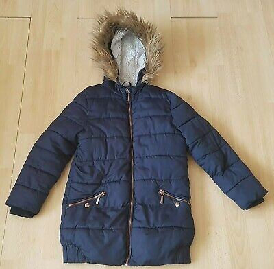Florence and Fred Navy Padded Hooded Fur Trimmed School Jacket Age 12