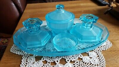 Stunning Dressing Table Blue Glass Vanity Set Art Deco Style Vintage