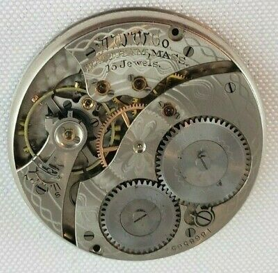 1912 WALTHAM 12s POCKET WATCH MOVEMENT OPENFACE 15j A.W.W. Co.  # 18685654