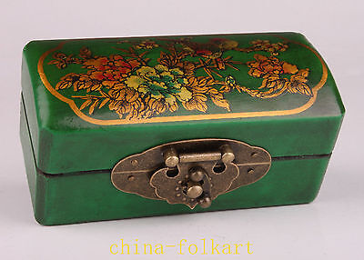 2 Delicate Painted Flower Leather Jewelry Boxes - Green And Red