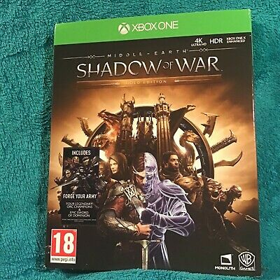 ✴️ Middle Earth: Shadow of War Gold Edition Xbox ONE Game Disc Steelbook 2x DLC