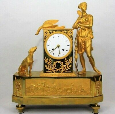 "Antique French mantel clock ormolu Empire gilt bronze Figural clock ""Diana"""