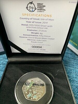 VERY Low COA #00004 2019 Official Peter Pan SILVER PROOF 50p BUNC Coin IN CASE