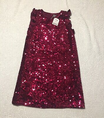 BNWT New Next Girls Sequence Red Plum Burgundy Party Dress Age 9