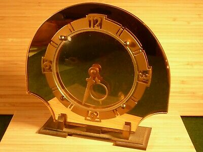 Art Deco Peach Mirrored Brass Footed Mantle Clock 1930's Working