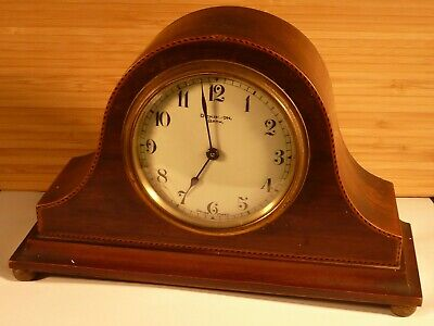 Antique Inlaid Mahogany Mantle Clock by Dickinson , Bath Swiss Buren Movement