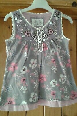Girls Next Dusky Purple Floral Top Age 5 Years IMMACULATE!!
