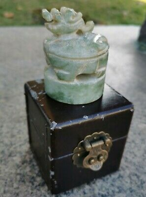 Vintage Chinese Nephrite Jade Seal Hand Carved Round Stamp Dragon + Box
