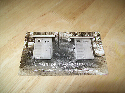 """Vtg. Picture Post Card """"Pair Of Two Holers """" Outhouses In Northern Michigan"""