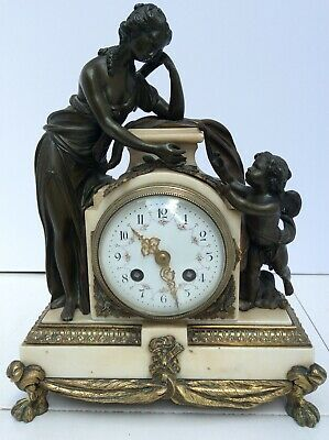 Beautiful Heavy Bronze and Marble figural Mantle Clock