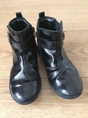 Clarks Girls Black Leather Ankle Boots Winter Boots Size 11 G