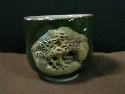 Vtg.Chinese Clay Pottery Handcrafted Green Glazed Carved Bonsai Tree/Temple Cup