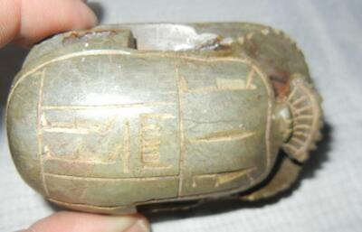 Antique Egyptian Egypt Scarab Beetle Amulet Seal Made Of Stone 3.5""