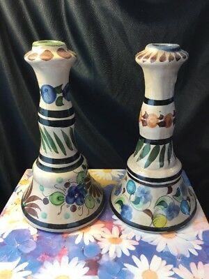 Mexican Tico Taco Hand Crafted Painted Ceramic vintage Candle holder pair set