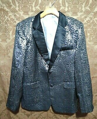 Luxury Men's Jacquard Suit Coat Casual Slim Formal Two Button Blazer Jacket Tops