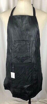 New Black LEATHER Works Apron  Art Woodwork Barber Hair Stylist Kitchen Pockets