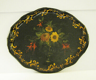 Antique Primitive Tinware Toleware Large Decorative Carrying Tray Beautiful Item