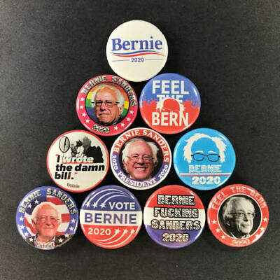 """Bernie Sanders 1"""" Button Pin Set (All 10 Pins) For President 2020 Feel the Bern"""