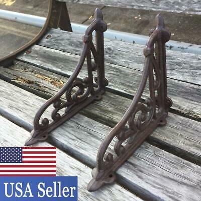 2Pcs Antique Style Cast Iron Brackets Garden Braces Rustic Shelf Bracket Brown