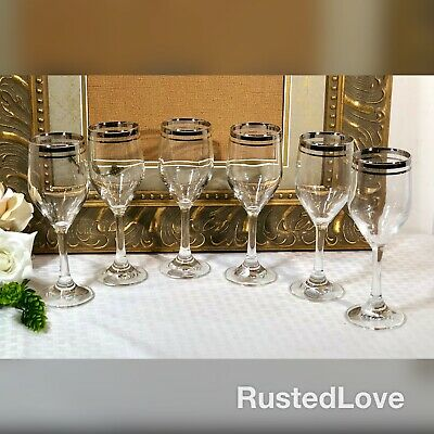 "MCM Wine glasses with Platinum Band Italy ""Versailles"" Hand Blown Crystal Set 6"