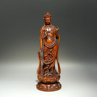 Collectable Chinese Antique Boxwood Carve Auspicious Bring Luck Guan Yin Statue