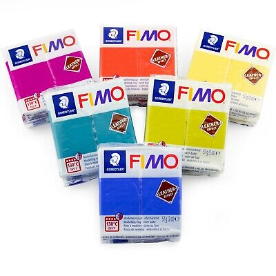 6 x Staedtler Fimo Leather Effect Polymer Oven Modelling Clay - 57g - Bright Set