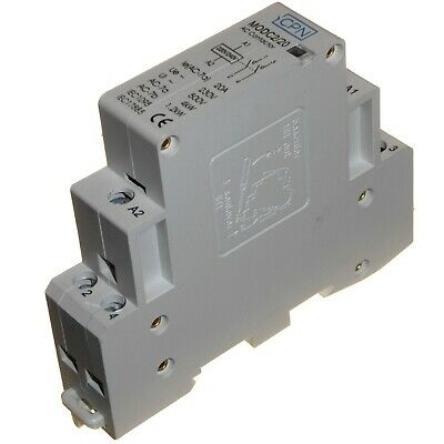 20 Amp 2 Pole AC Contactor Normally Open 4kW for Heating Lighting DIN Rail 20A