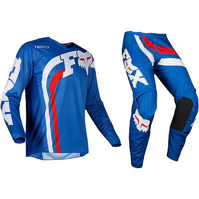 Jugendliche Kinder Fox Racing 180 Motocross MX Set Hose Trikot - Cota Blau