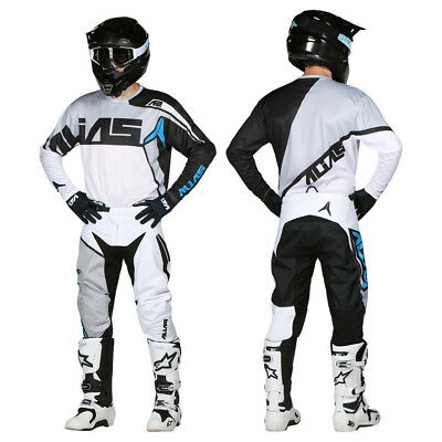 Alias MX Youth Motocross Set Burst Schwarz/Weiß Hose Jersey Shirt Hose
