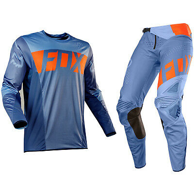 Fox Racing Flexair Motocross MX Set Hose Trikot - Libra Orange/Blau